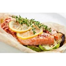 Филе лосося, запеченное в пергаменте, с овощами, 150/130/20 гр.