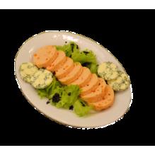 Мусс из семги с красной икрой и зеленым маслом